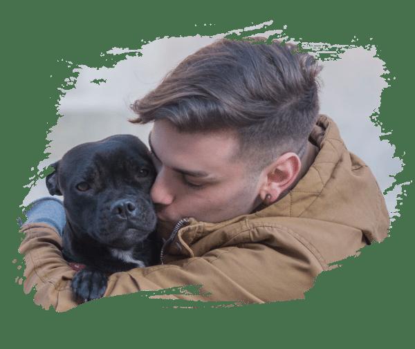 Man kisses his pet